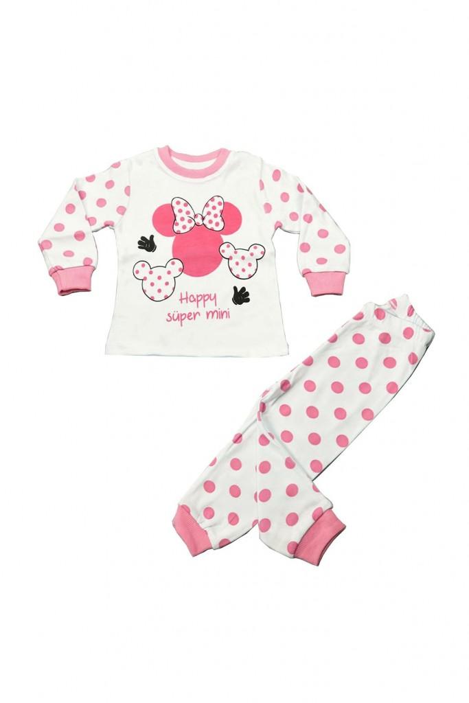Pembe Puanlı Mini Beyaz Kız Çocuk Pijama Takımı