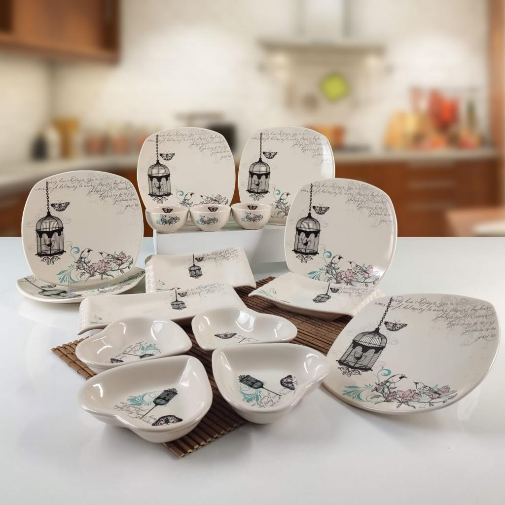Keramika 16 Parça 6 Kişilik Kahvaltı Takımı Retro