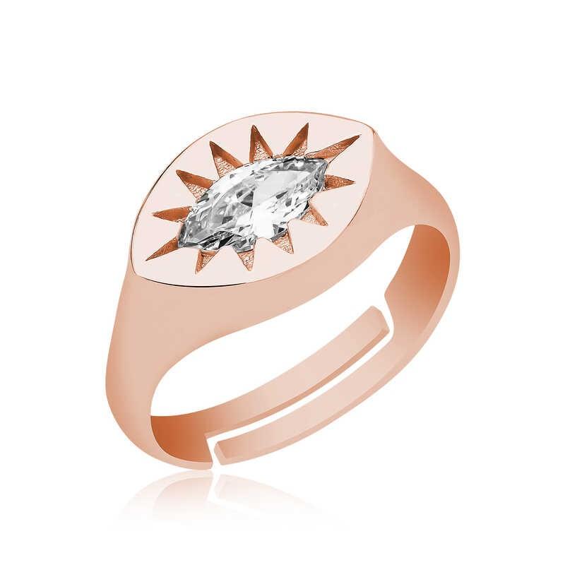 Pirmoda 925 Ayar Gümüş Ayarlanabilir Rose Kuzey Yıldızı Şovalye Yüzük