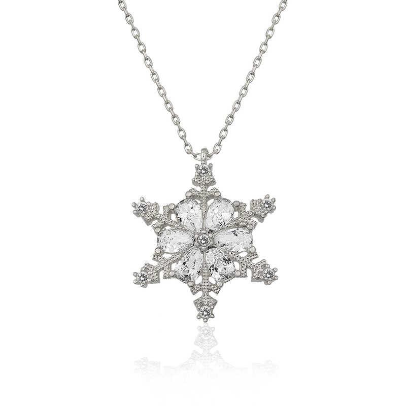 Pirmoda 925 Ayar Gümüş Çiçek Desenli Kar Kanesi Bayan Kolye